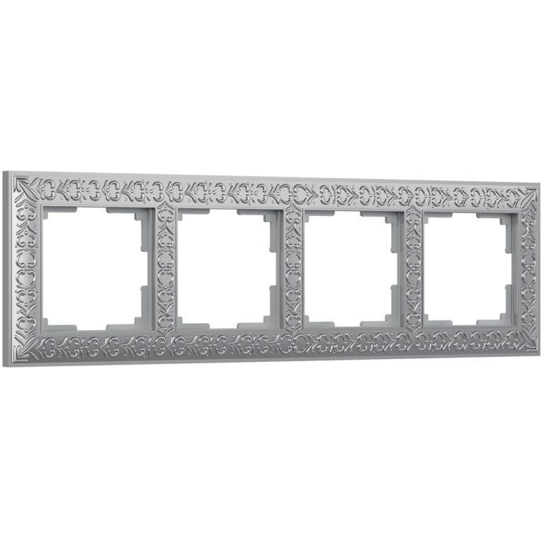 Рамка на 4 поста (матовый хром) WL07-Frame-04