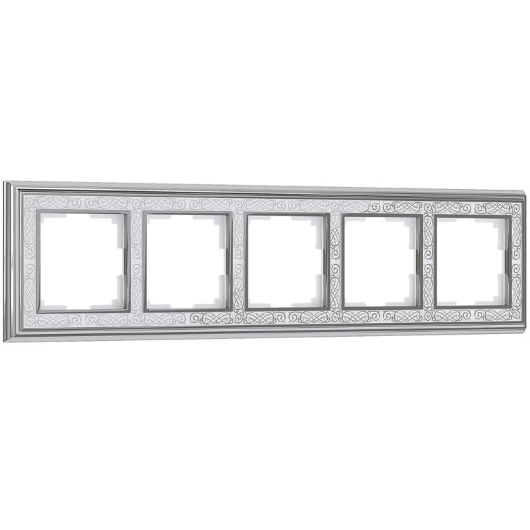 Рамка на 5 постов (хром/белый) WL77-Frame-05
