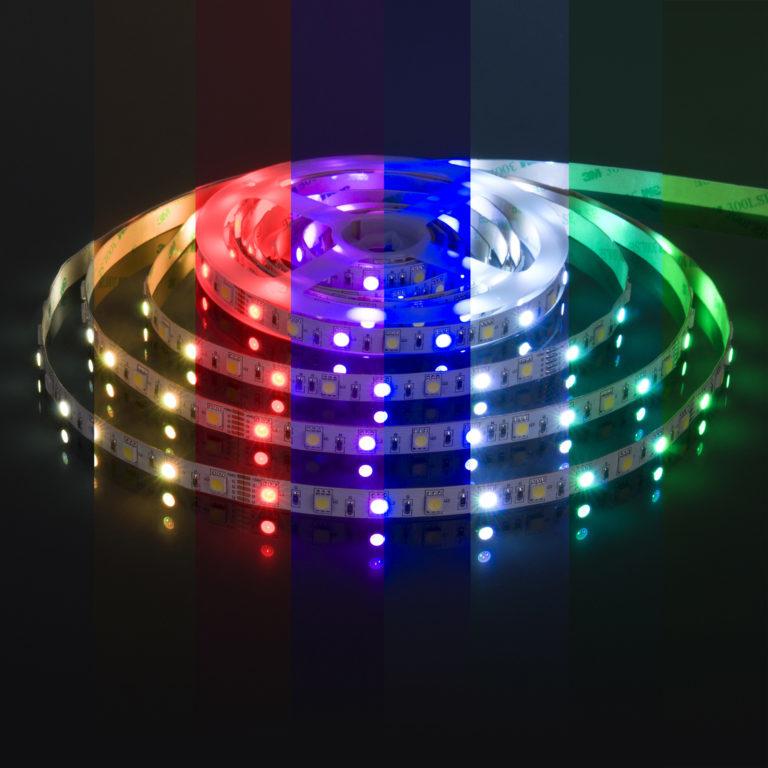 Светодиодная лента Лента светодиодная 24V 14,4W 60Led 5050+5050 IP20 MIX RGB/холодный белый, 5м