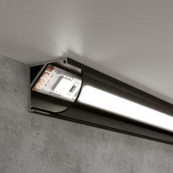 Угловой алюминиевый профиль черный/черный для светодиодной ленты LL-2-ALP008