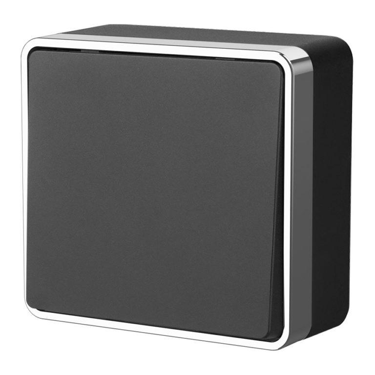 Выключатель одноклавишный проходной Gallant (черный/хром) WL15-01-03