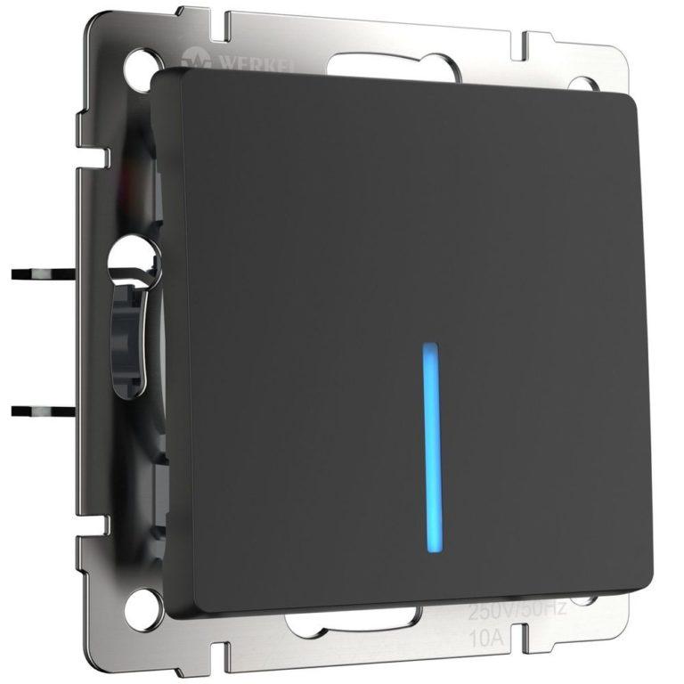 Выключатель одноклавишный проходной с подсветкой (черный матовый) W1112108