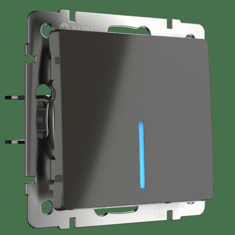 Выключатель одноклавишный  с подсветкой (серо-коричневый) W1110107