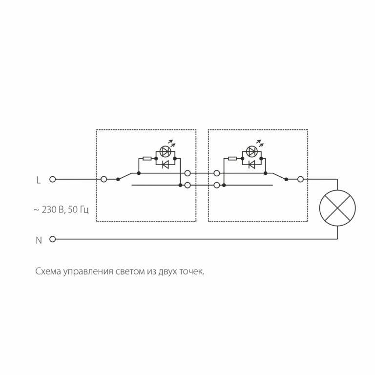 Выключатель одноклавишный проходной с подсветкой (графит рифленый) W1112104