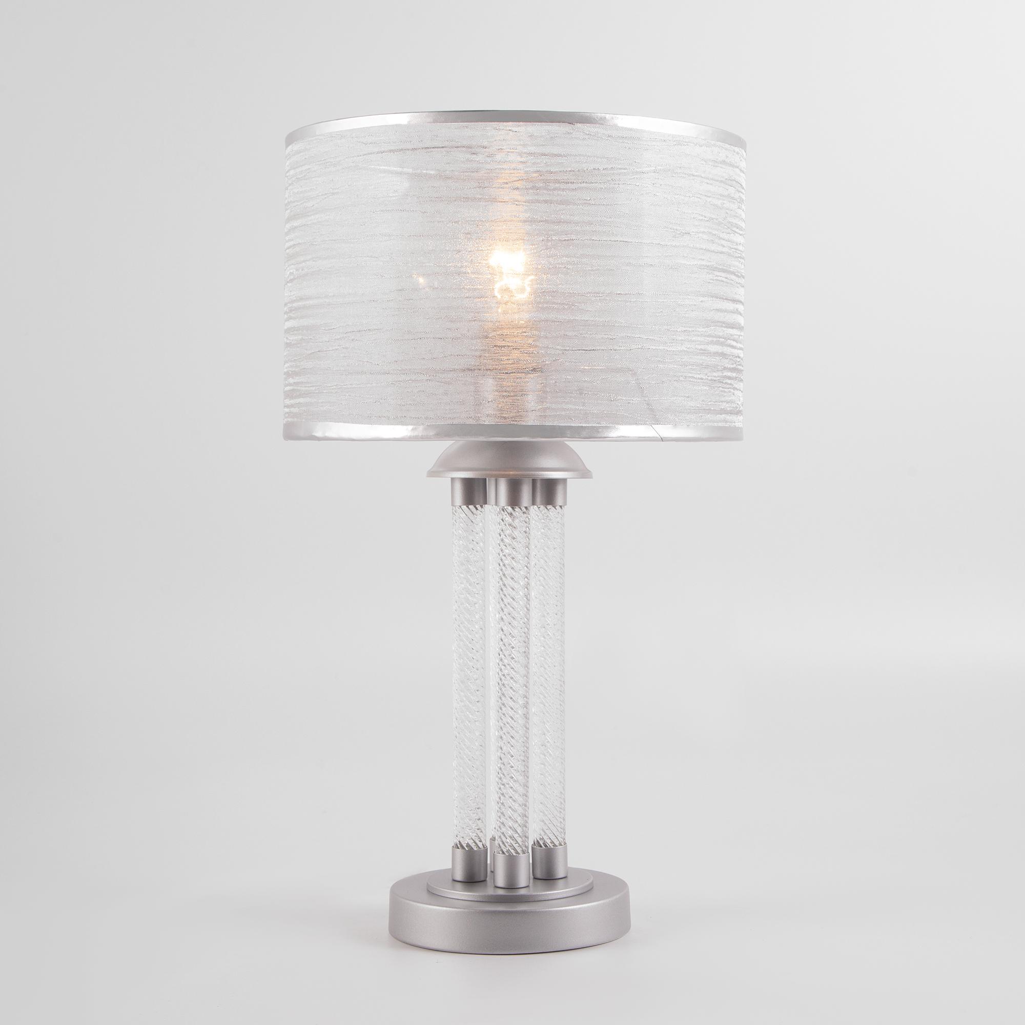 Настольная лампа с абажуром 01073/1 серебро
