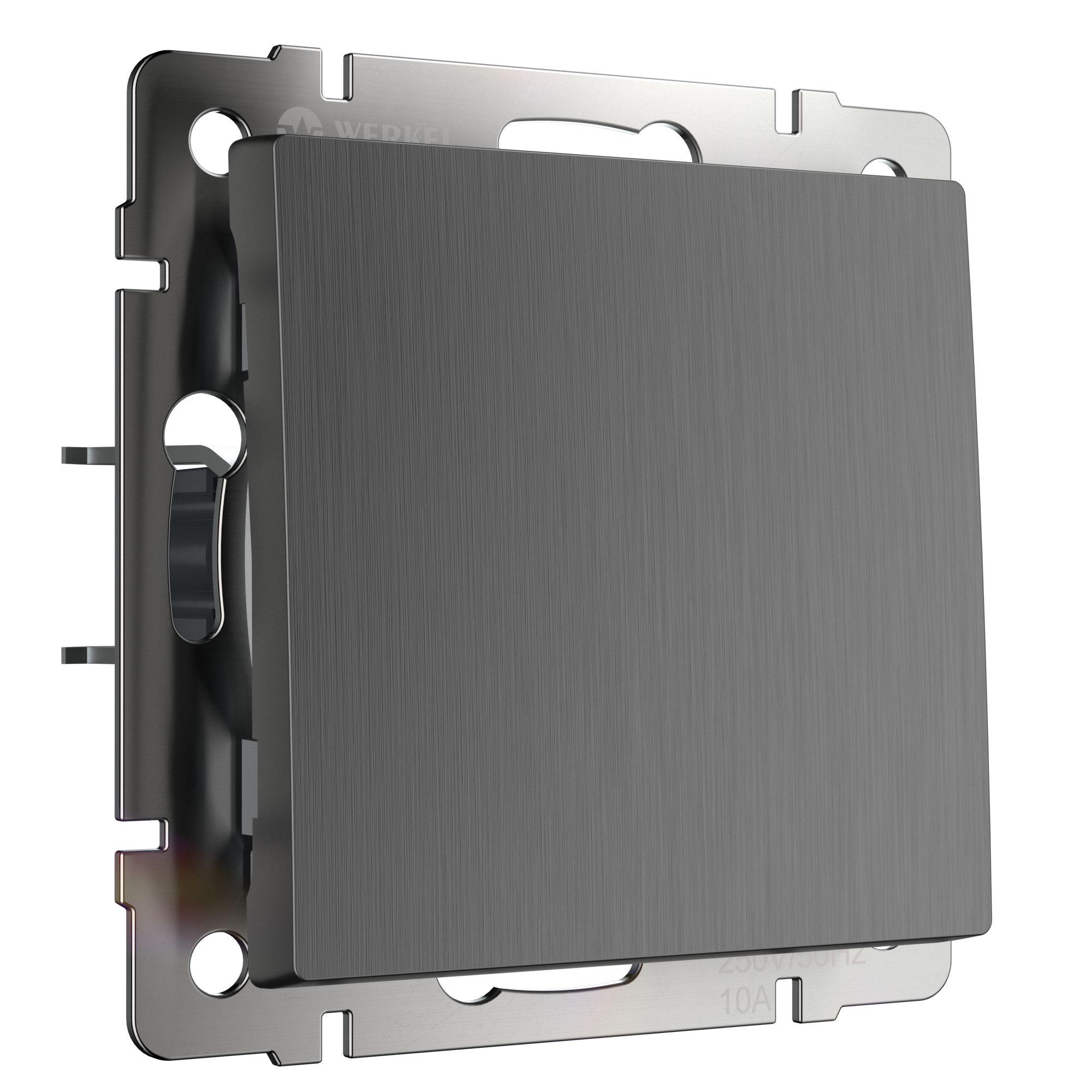 Выключатель одноклавишный (графит рифленый) W1110004