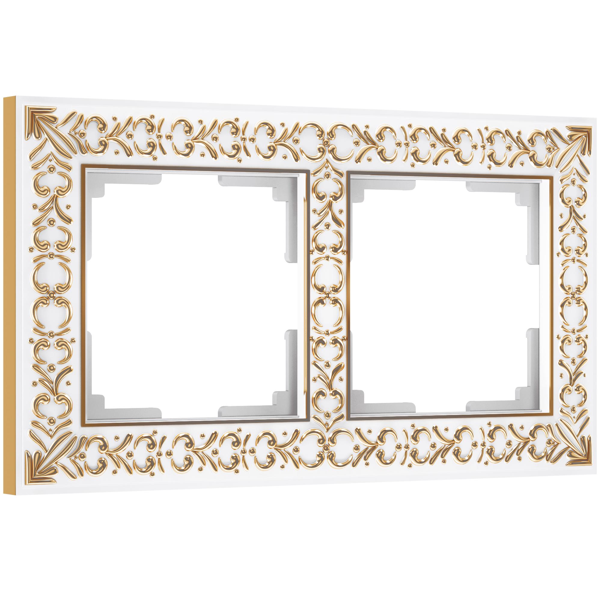 Рамка на 2 поста (белое золото) W0021523