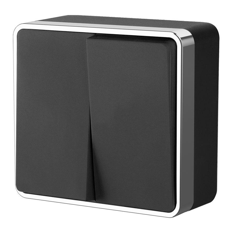 Выключатель двухклавишный Gallant (черный/хром) W5020035
