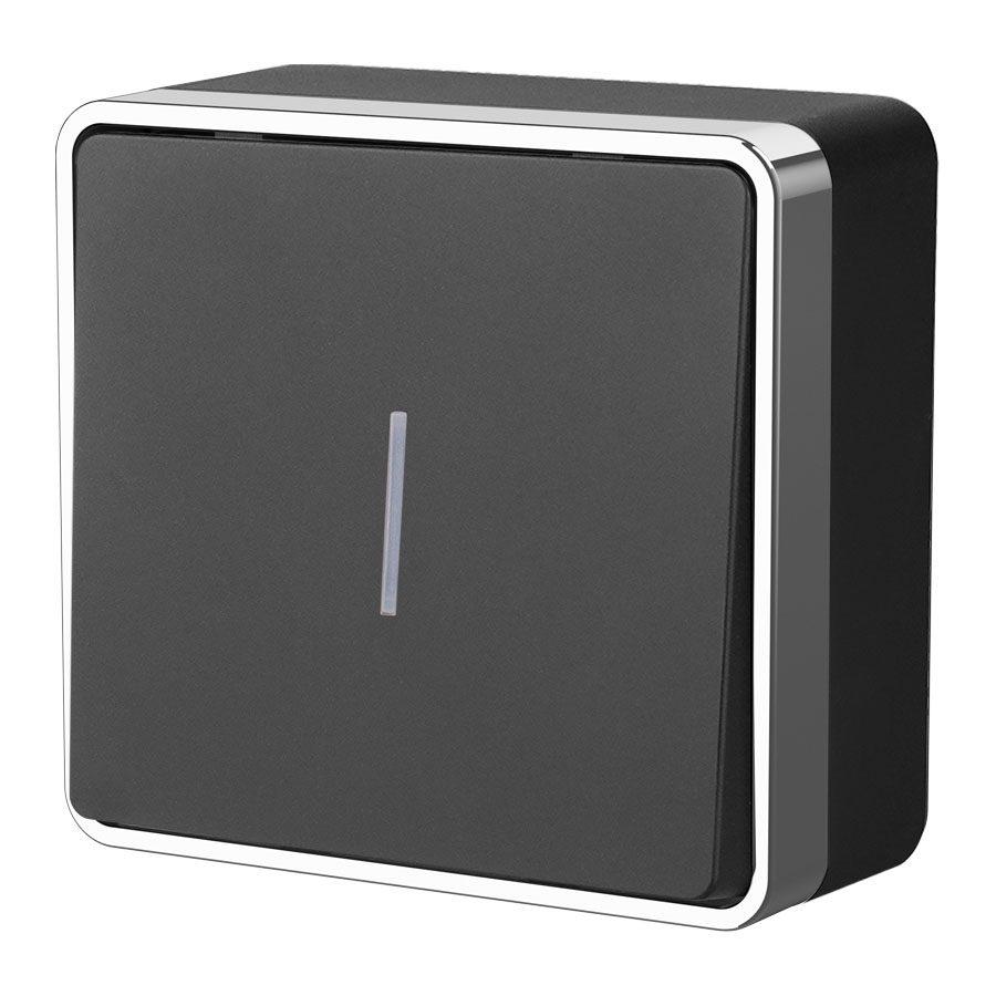 Выключатель одноклавишный с подсветкой Gallant (черный/хром) W5010135