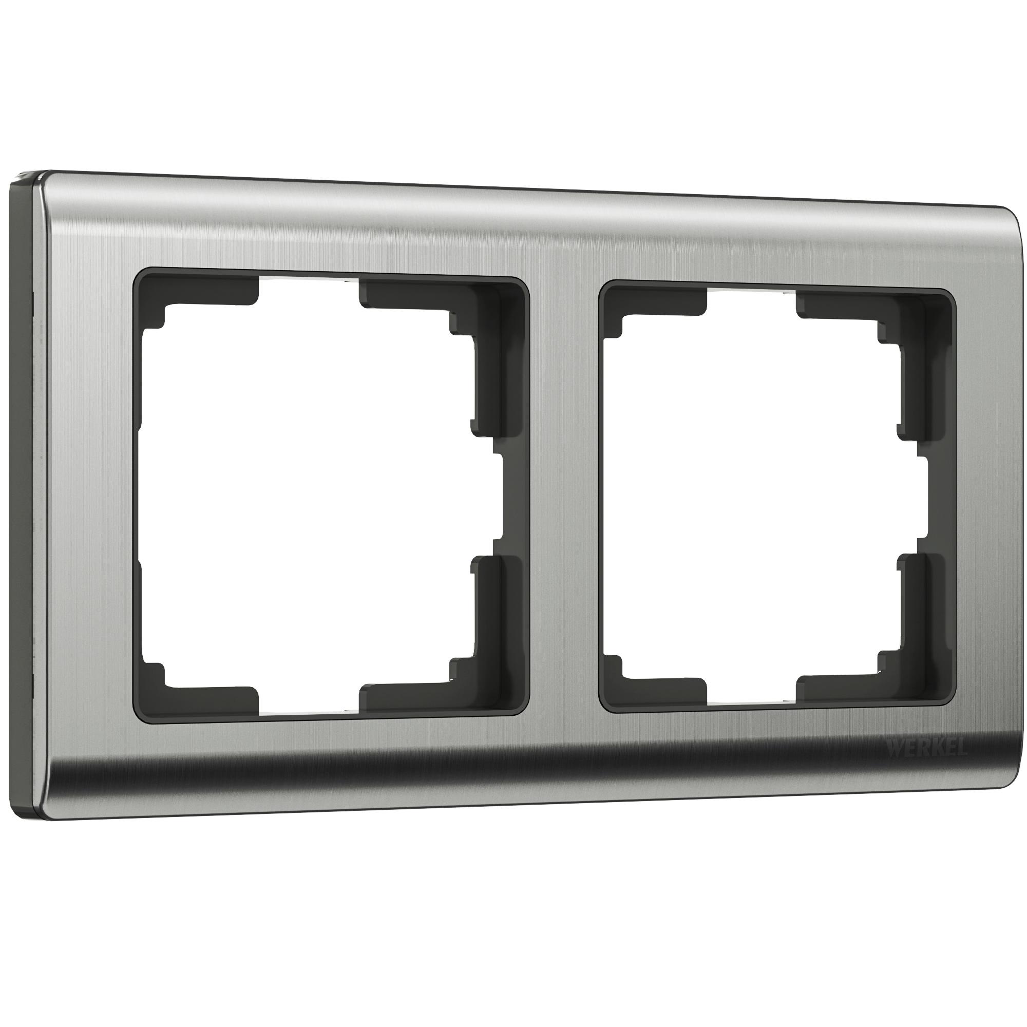 Рамка на 2 поста (глянцевый никель) W0021602