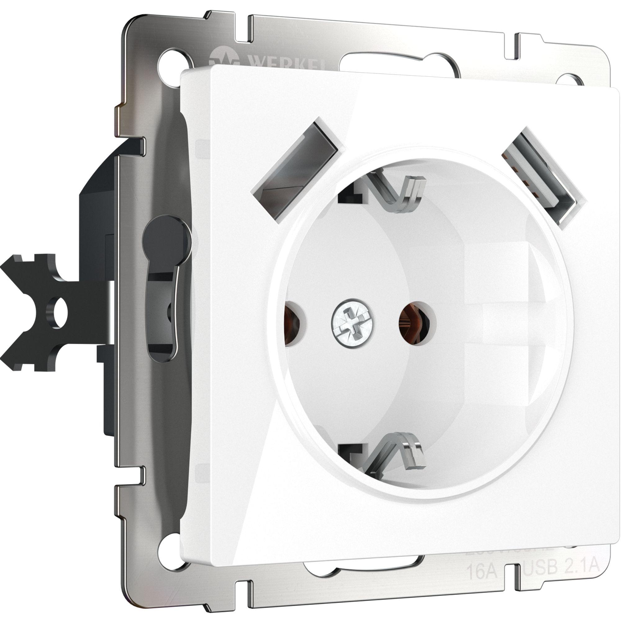 Розетка с заземлением, шторками и USBх2 (белая) W1171501