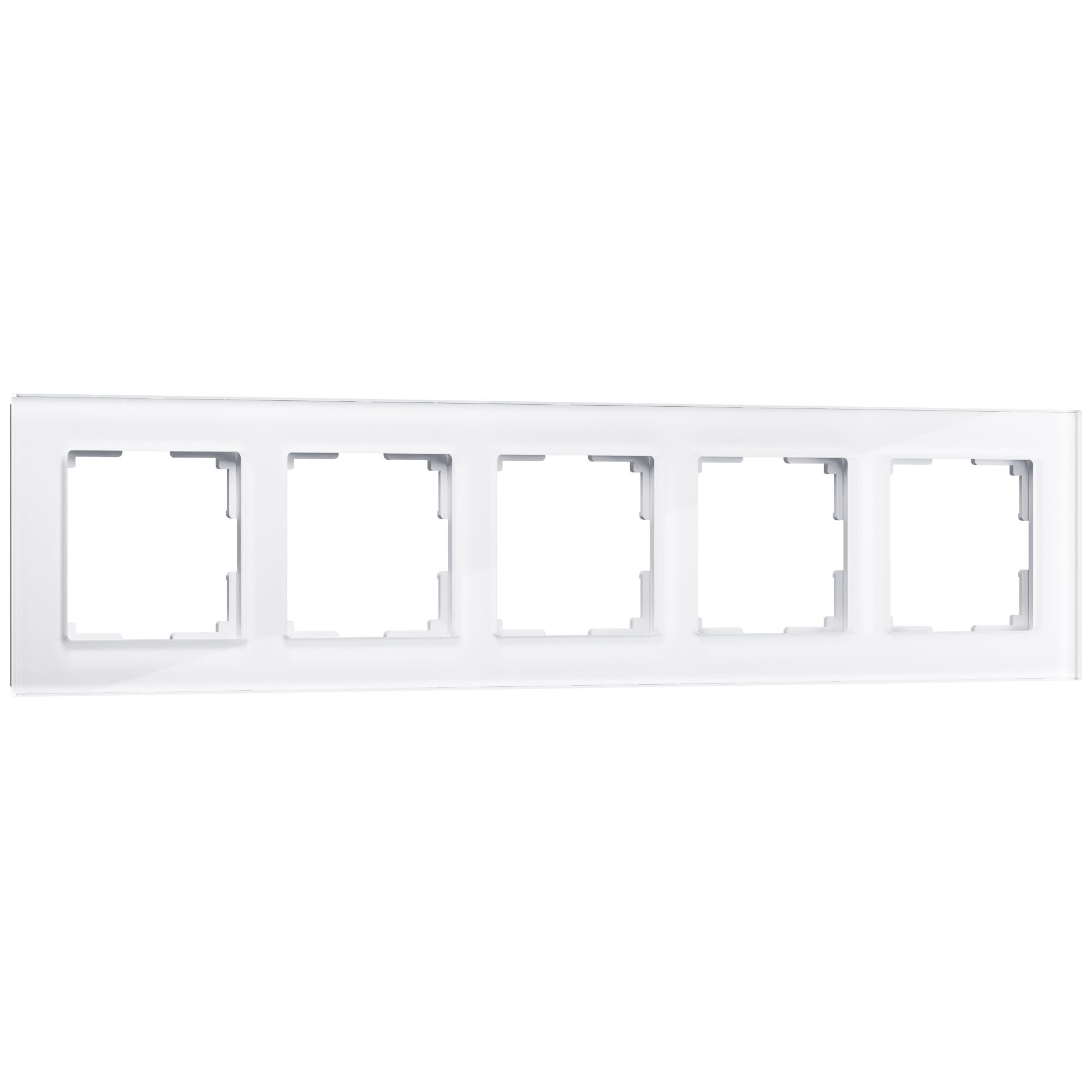 Рамка на 5 постов (белый,стекло) W0051101