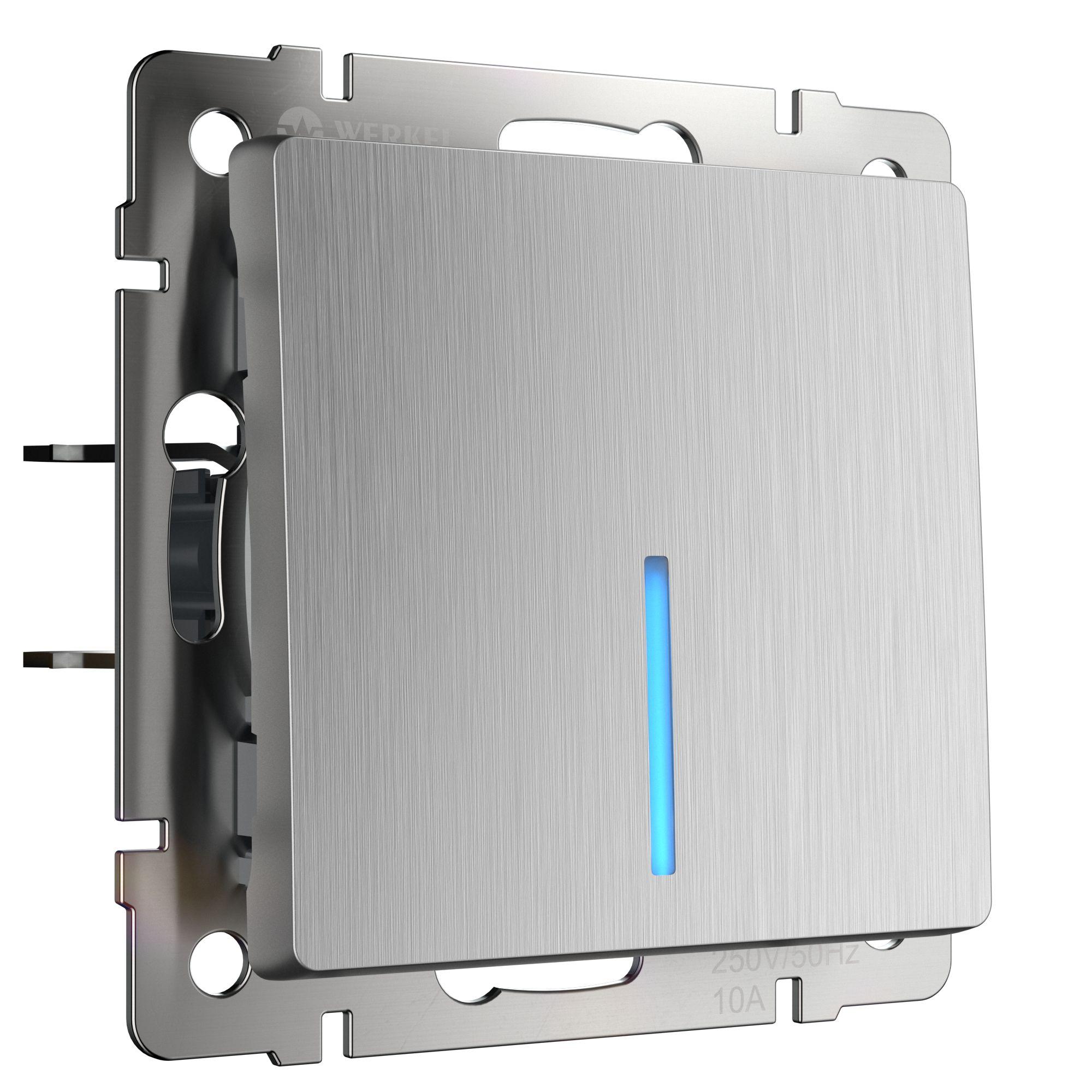 Выключатель одноклавишный с подсветкой (cеребряный рифленый) W1110109