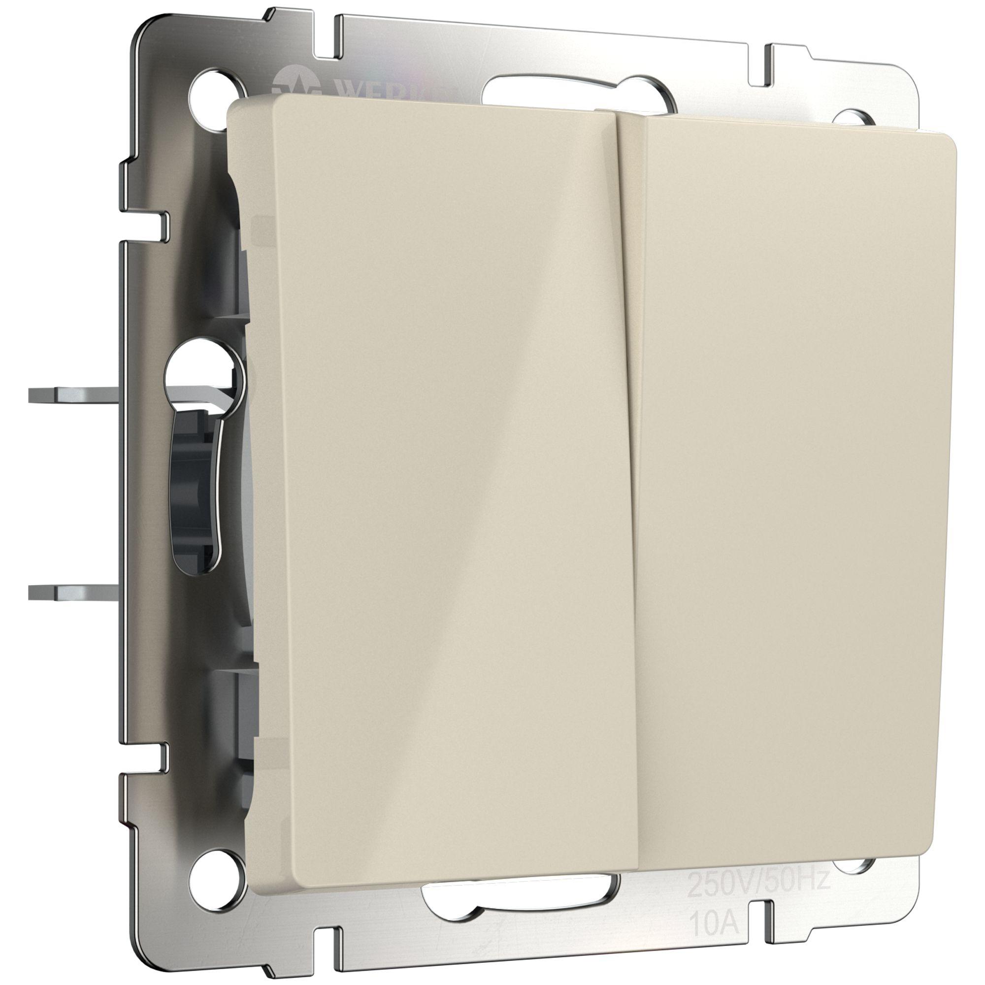Выключатель двухклавишный проходной (слоновая кость) W1122003