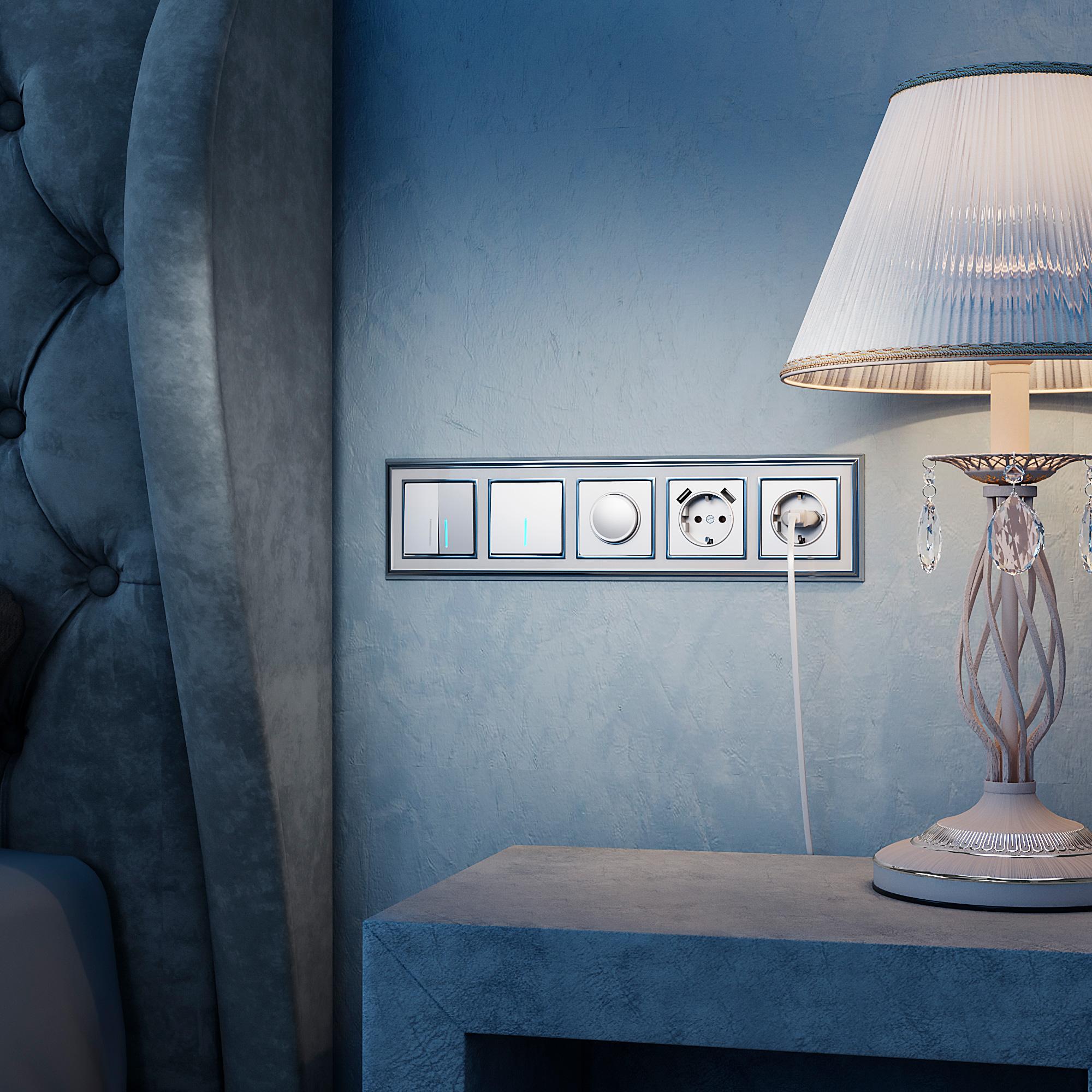 Выключатель одноклавишный  с подсветкой (серебряный) W1110106