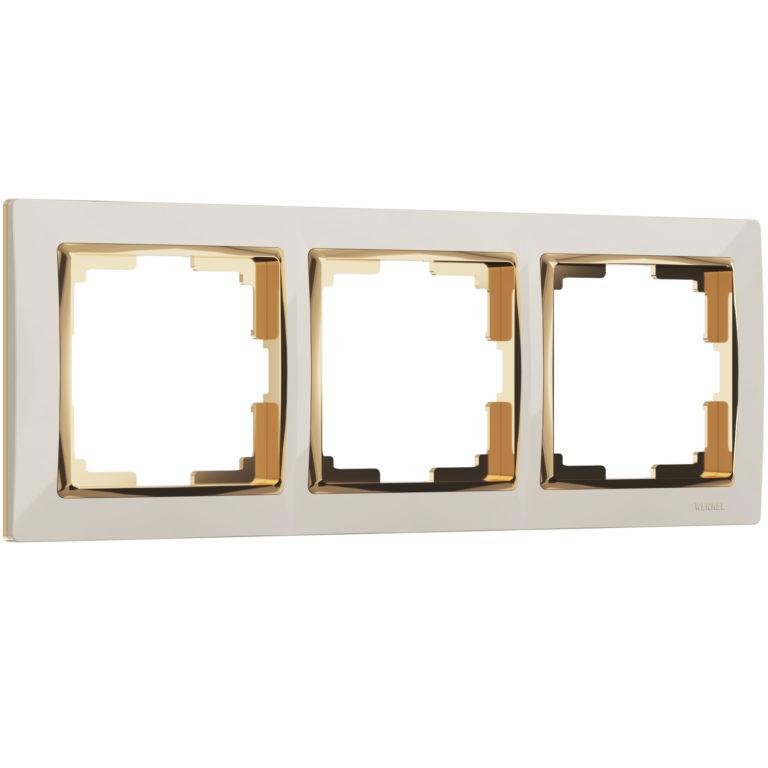 Рамка на 3 поста (слоновая кость/золото) W0031932
