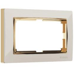 Рамка для двойной розетки (слоновая кость/золото) W0081932