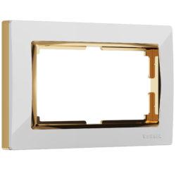 Рамка для двойной розетки (белый/золото) W0081933