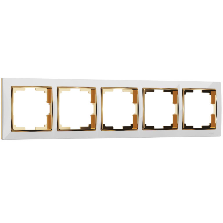 Рамка на 5 постов (белый/золото) W0051933