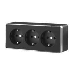 Розетка тройная с заземлением и шторками Gallant (черный/хром) W5073135