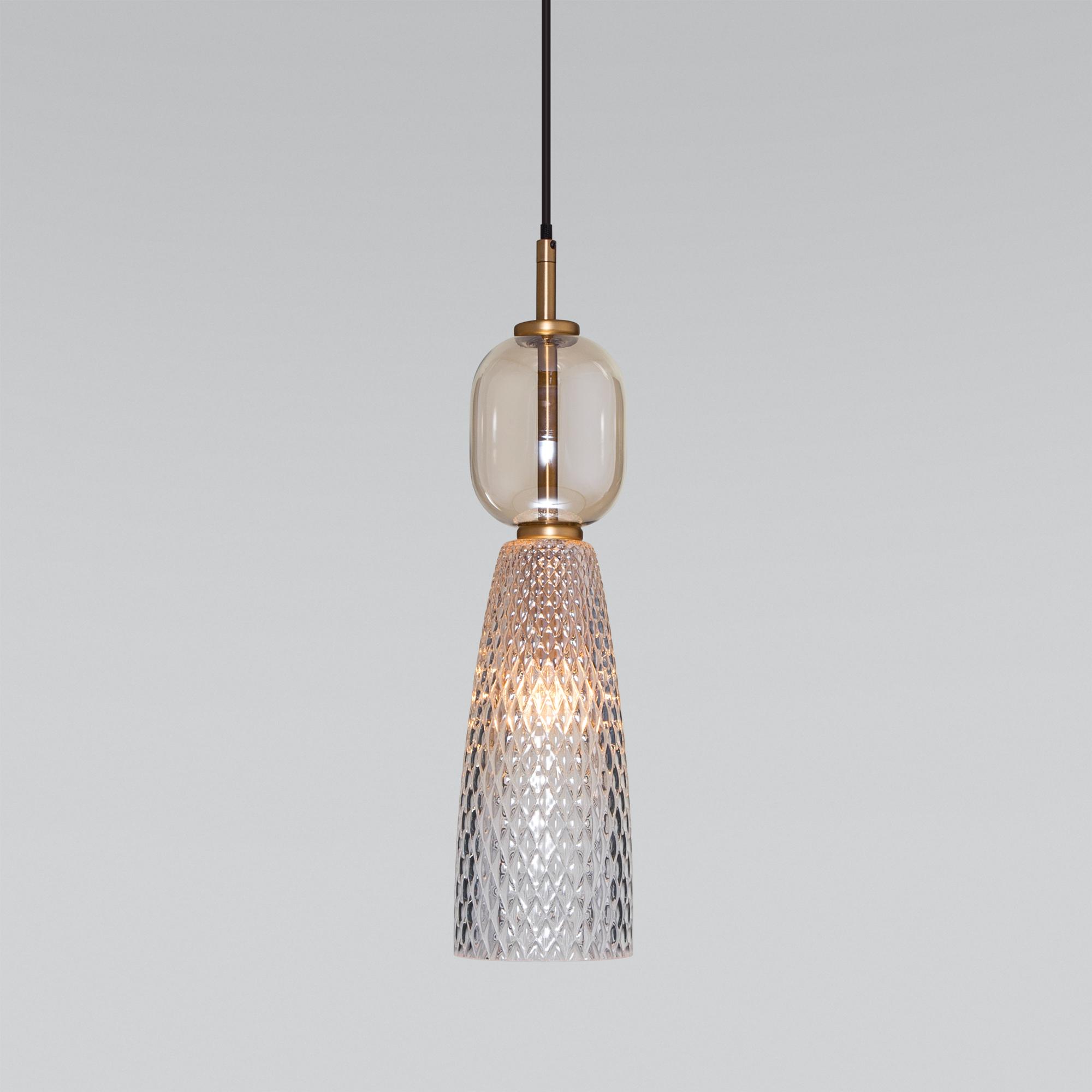 Подвесной светильник со стеклянным плафоном 50211/1 янтарный