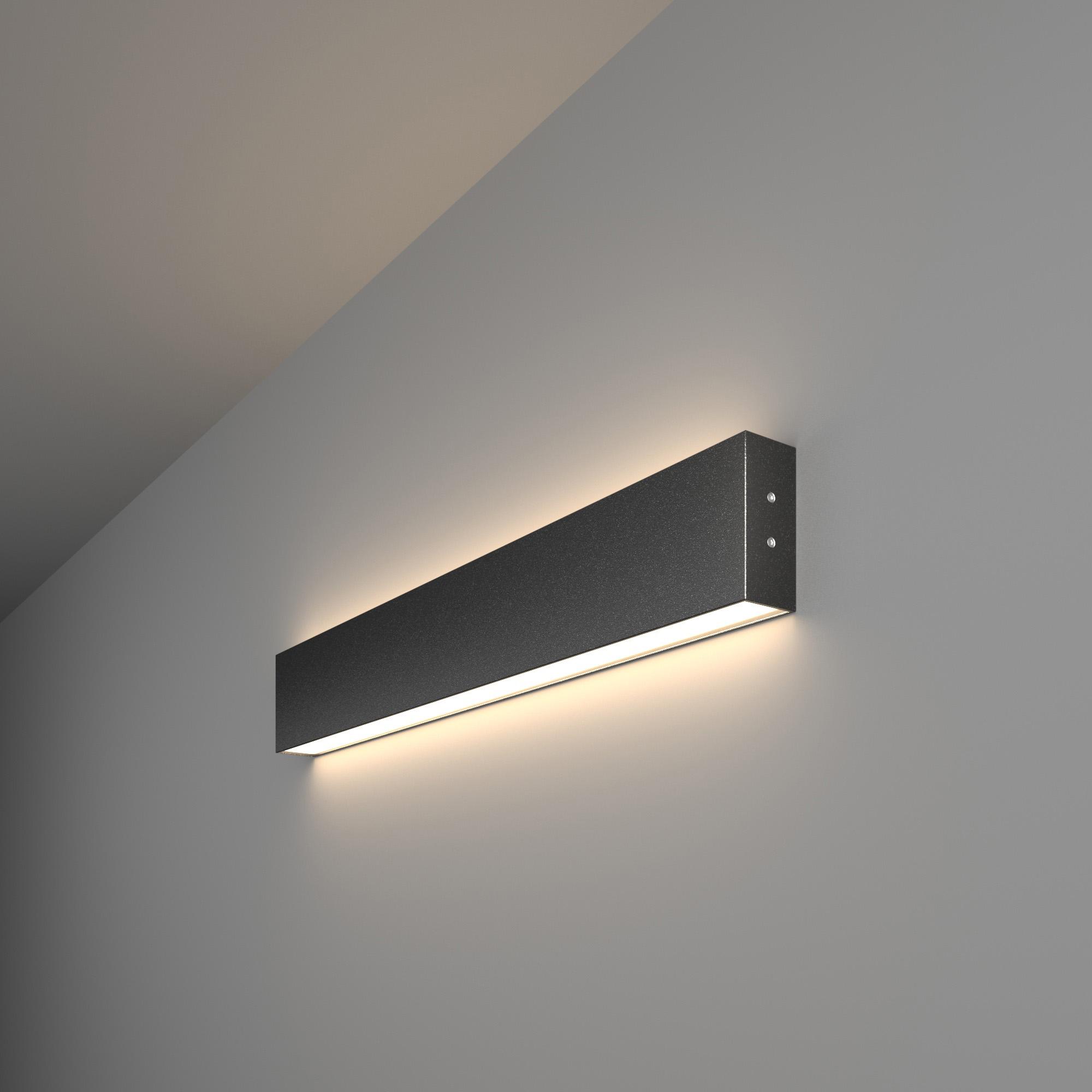 Линейный светодиодный накладной двусторонний светильник 53см 20Вт 4200К черная шагрень 101-100-40-53