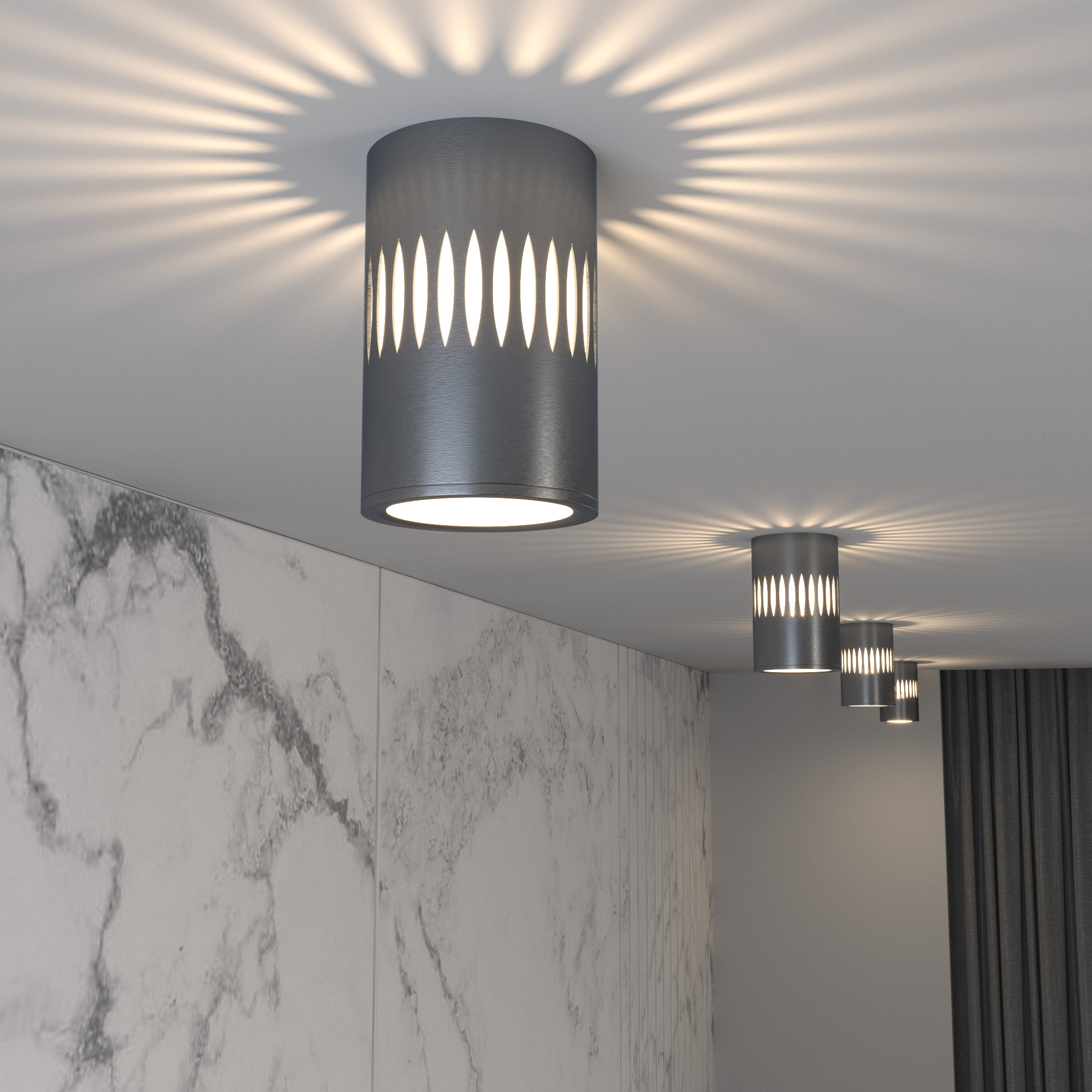 Накладной светодиодный светильник с подсветкой графит DLS026