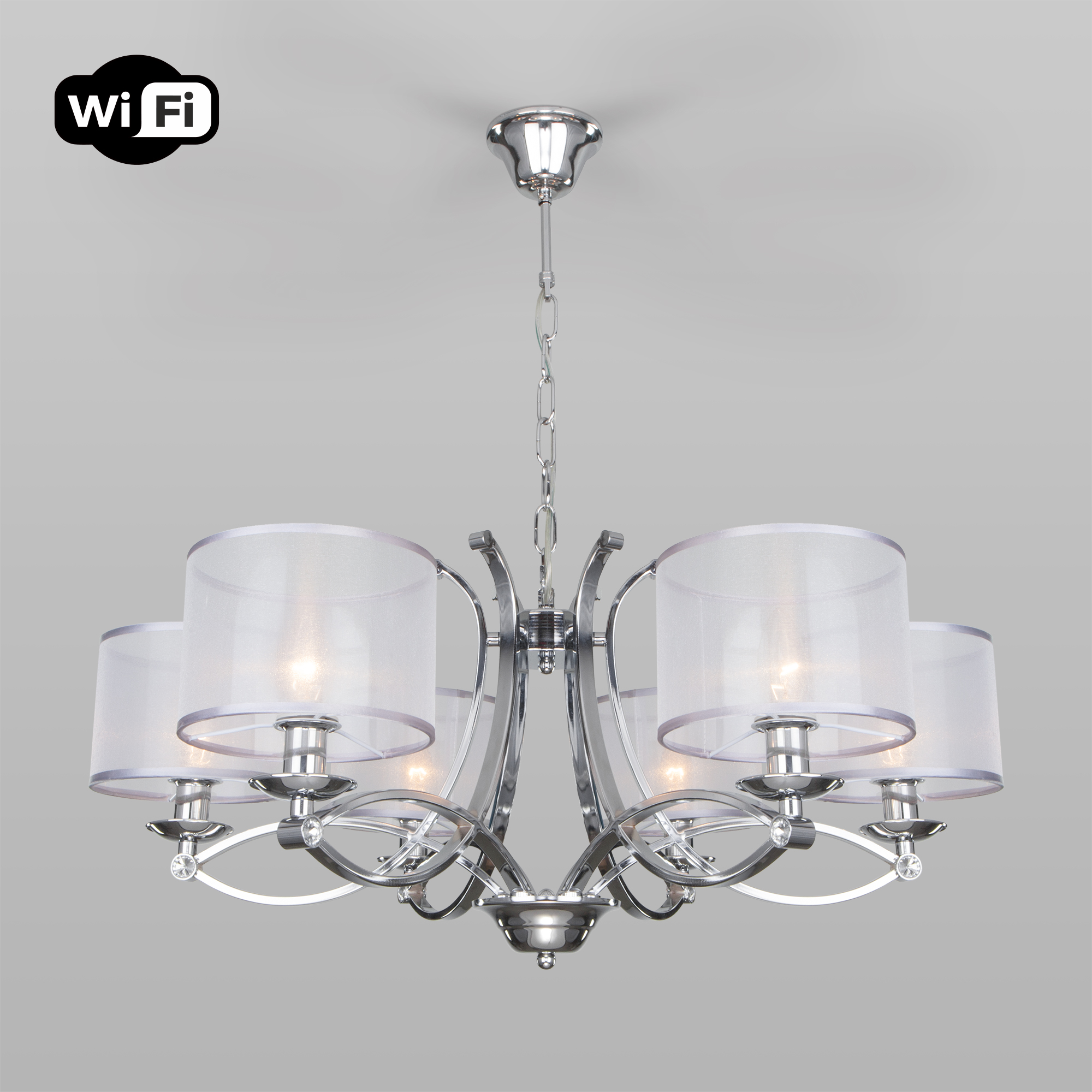 Подвесная люстра с управлением по Wi-Fi 60124/6 хром Smart (60109/6)