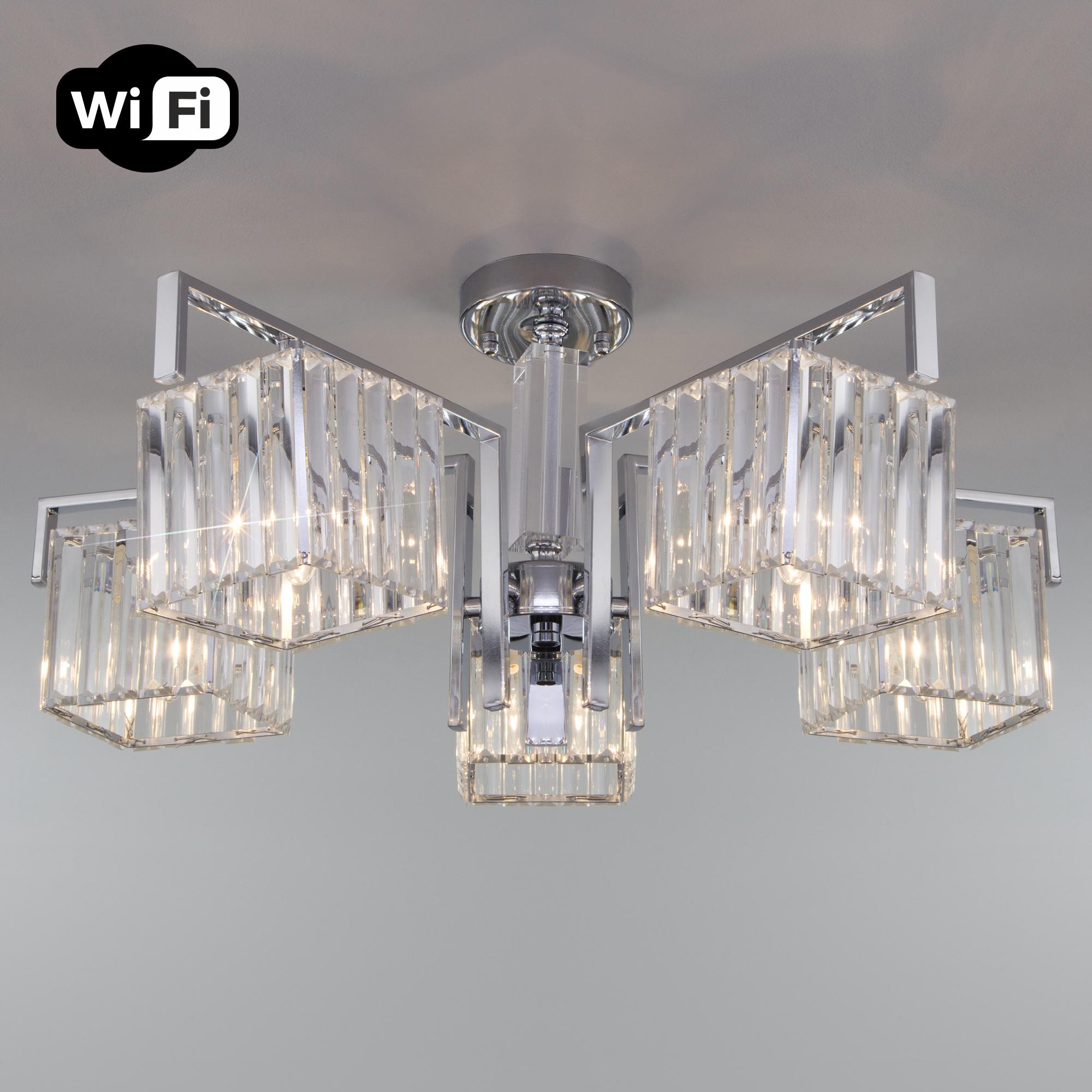 Потолочная люстра с управлением по Wi-Fi 10126/5 хром/прозрачный хрусталь Strotskis Smart (10117/5)