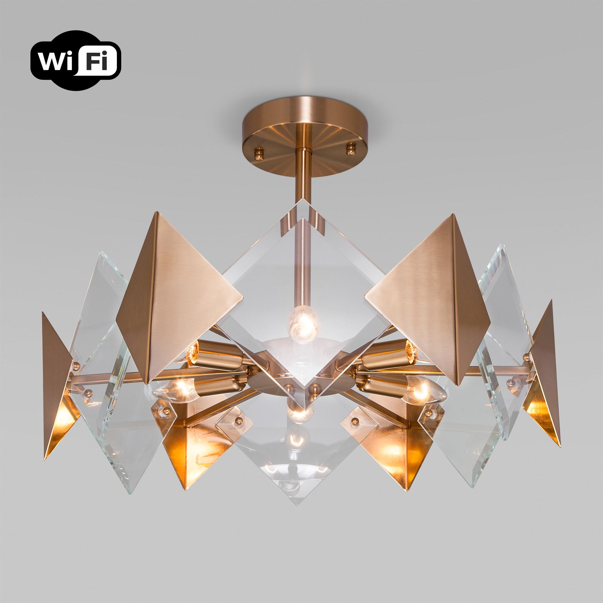 Потолочный светильник с управлением по Wi-Fi 60121/6 латунь Smart