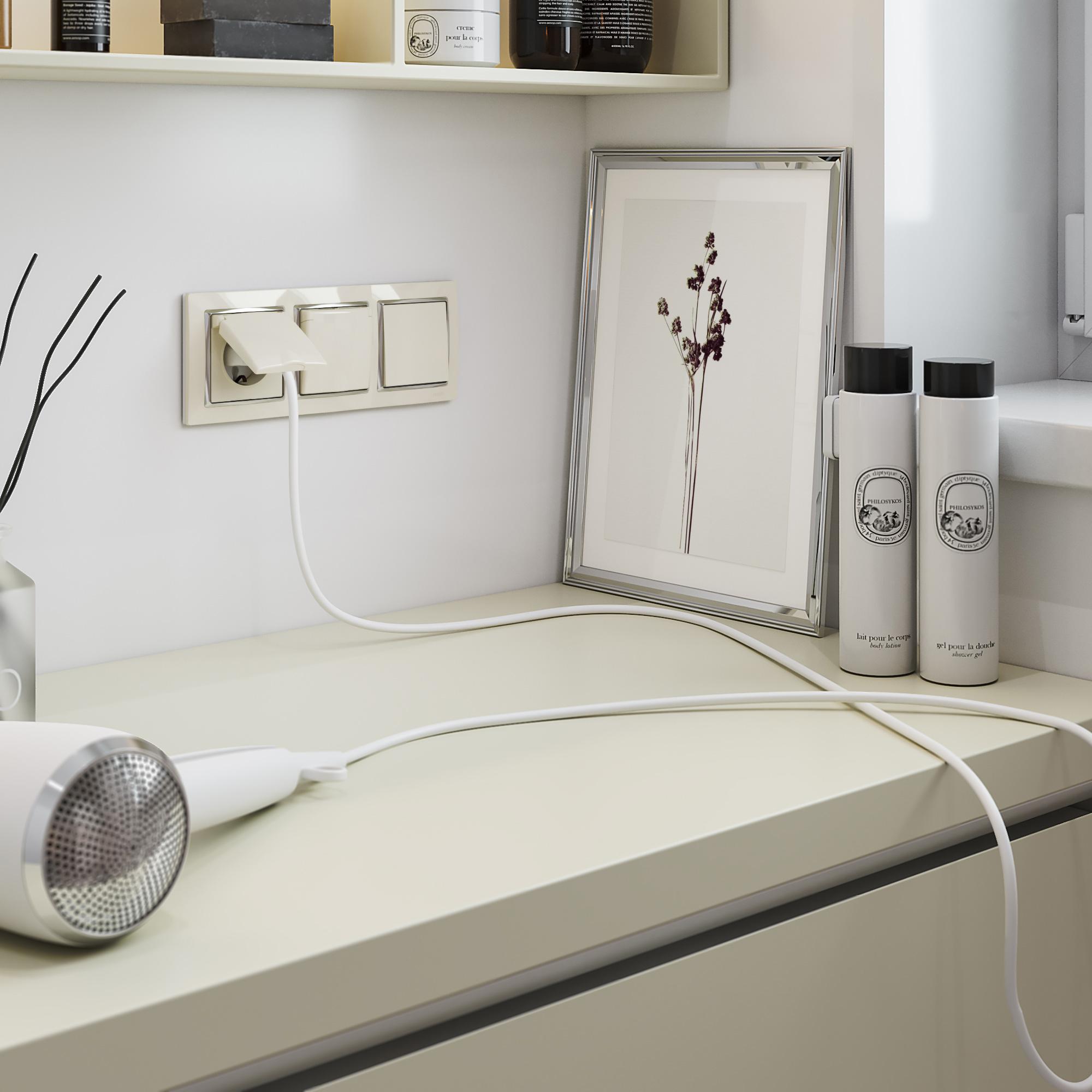Выключатель одноклавишный (слоновая кость) W1110003