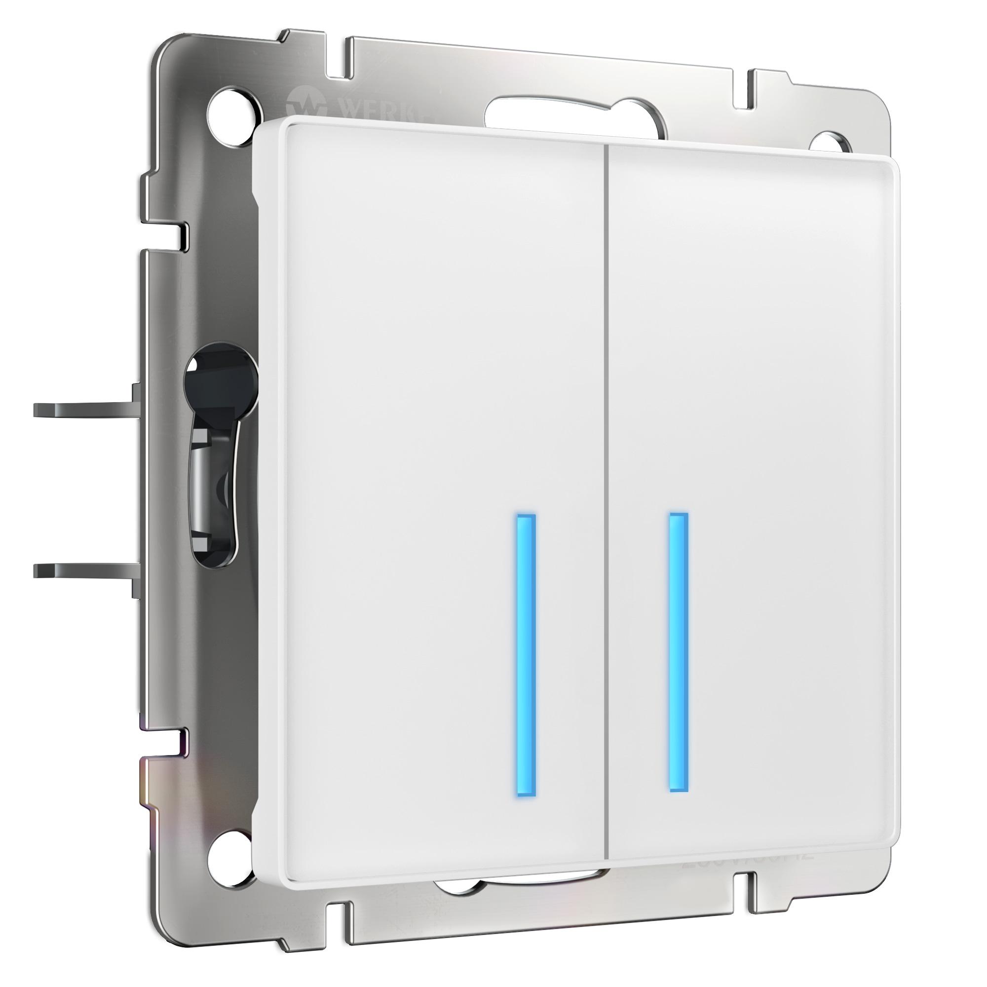 Сенсорный выключатель двухклавишный с подсветкой (белый) W4520101