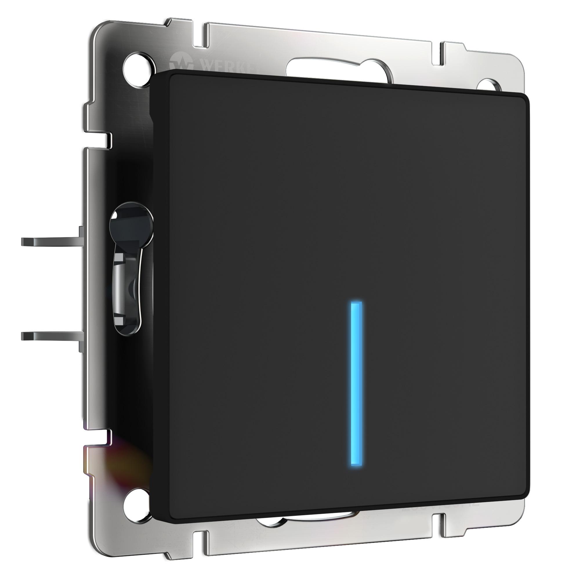 Сенсорный выключатель одноклавишный с подсветкой (черный) W4510108