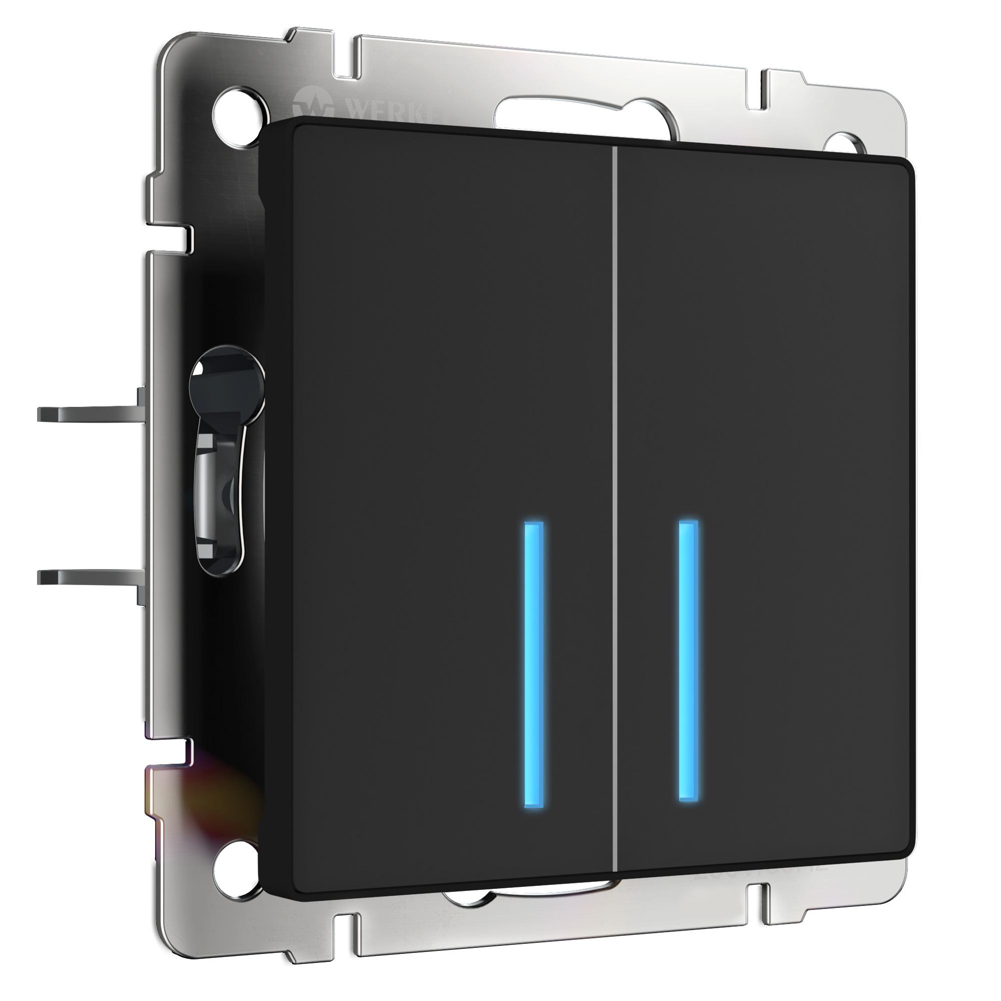 Сенсорный выключатель двухклавишный с подсветкой (черный) W4520108