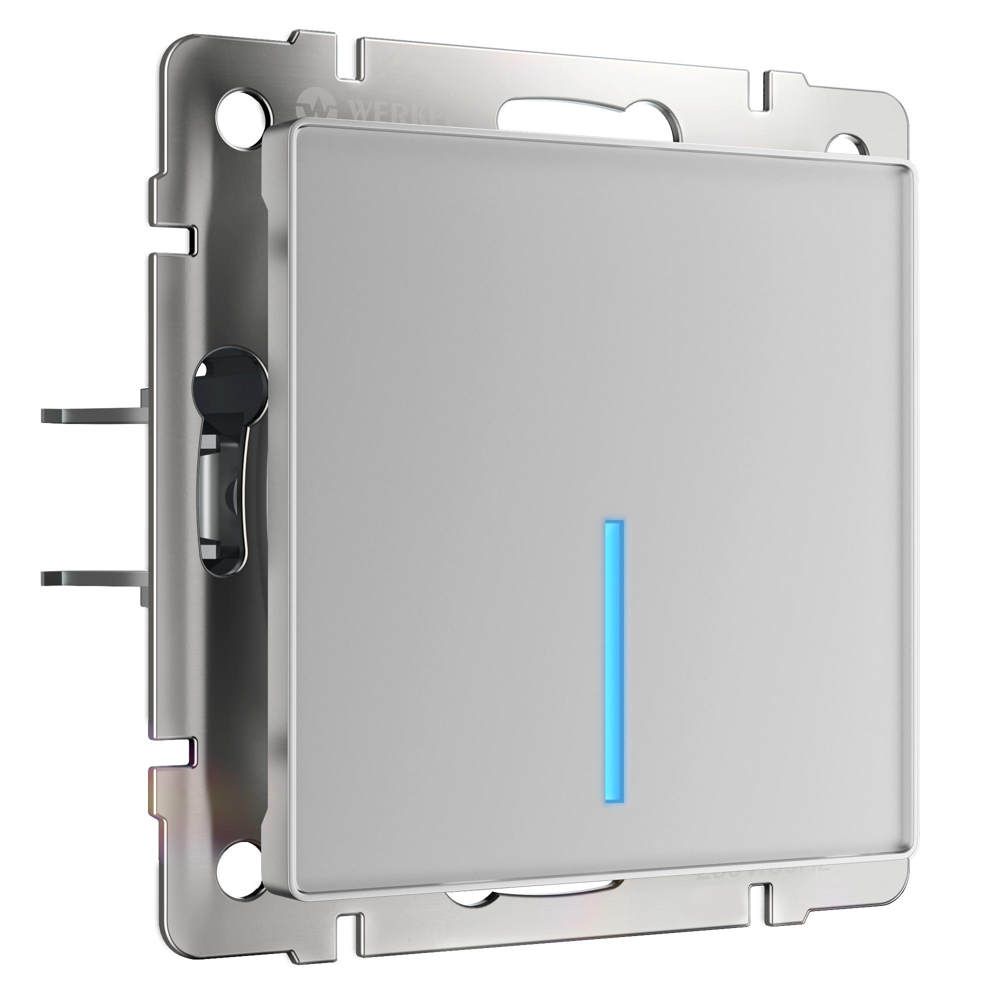 Сенсорный выключатель одноклавишный с подсветкой (серебряный) W4510106