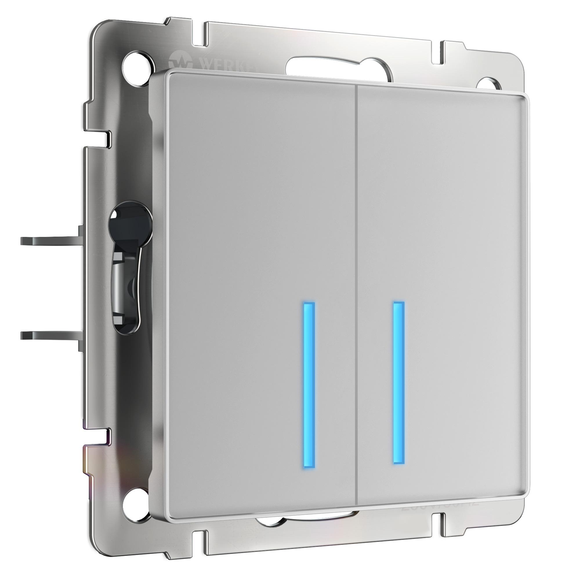Сенсорный выключатель двухклавишный с подсветкой (серебряный) W4520106