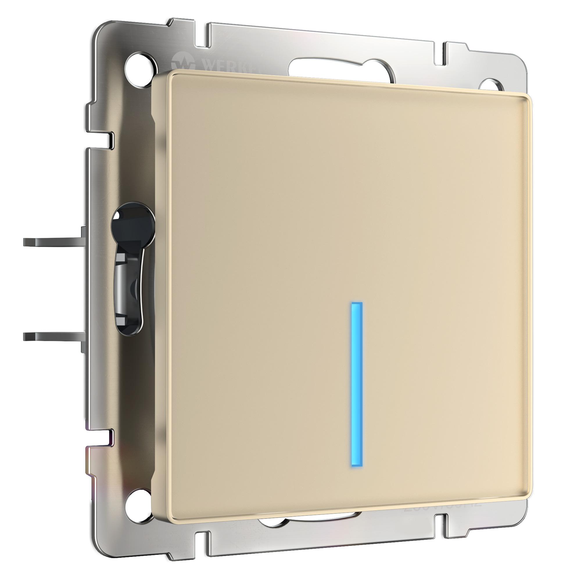 Сенсорный выключатель одноклавишный с подсветкой (шампань) W4510111