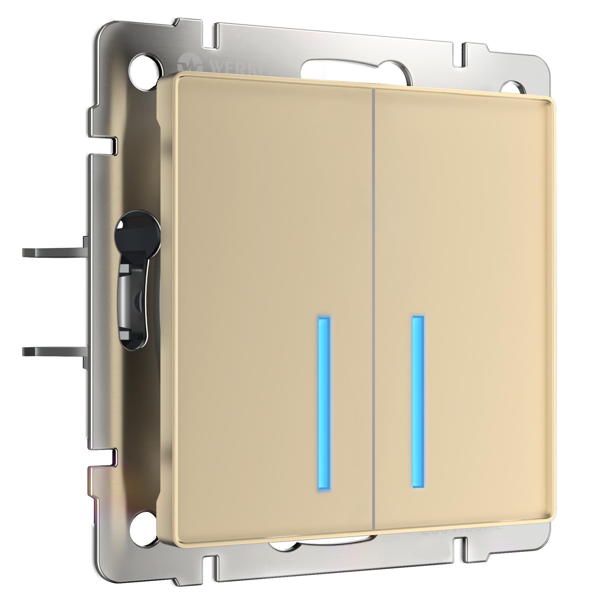 Сенсорный выключатель двухклавишный с подсветкой (шампань) W4520111