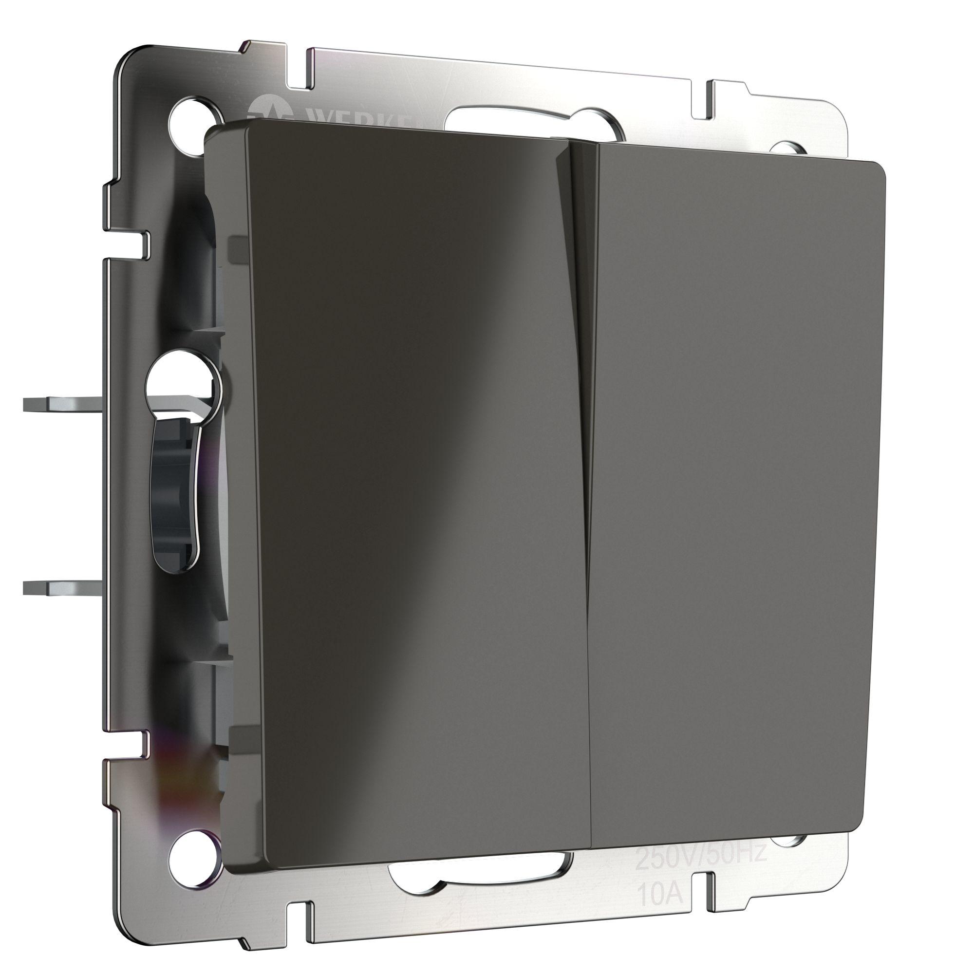 Выключатель двухклавишный проходной (серо-коричневый) W1122007