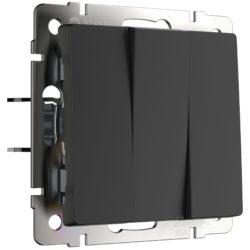 Выключатель трехклавишный  (черный матовый) W1130008