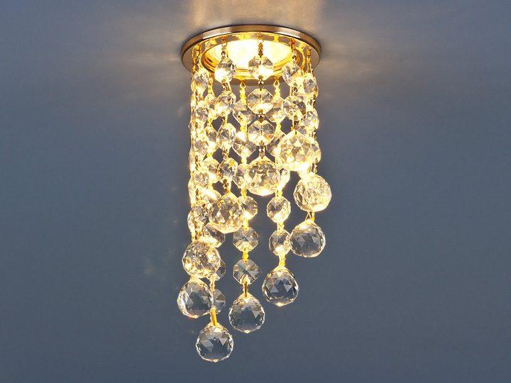 Светильник точечный с хрусталем 205C C GD/WH (золото/прозрачный)