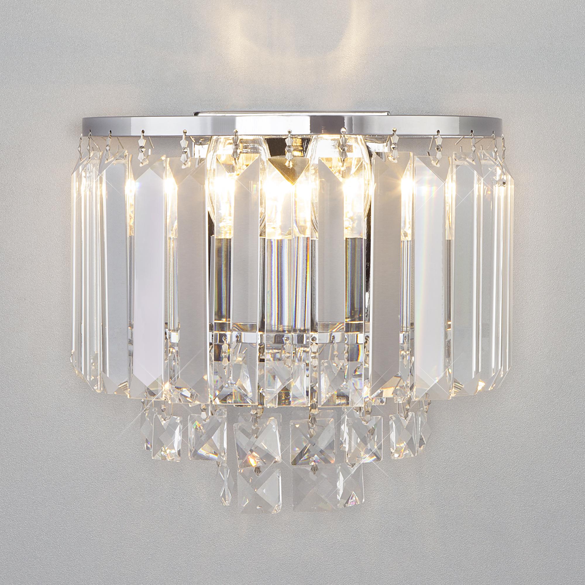 Настенный светильник с хрусталем 10121/2 хром