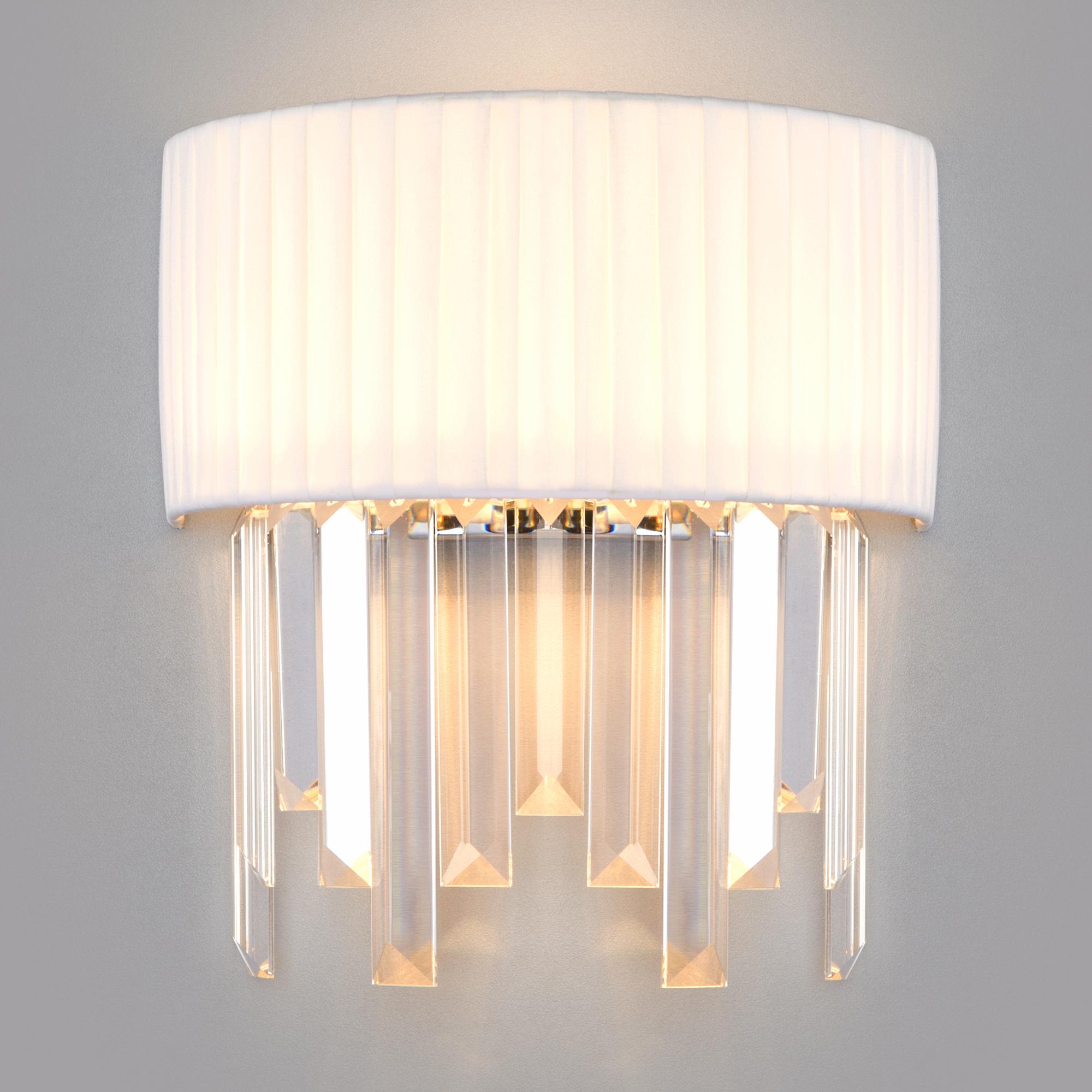 Настенный светильник с абажуром 10122/2 хром