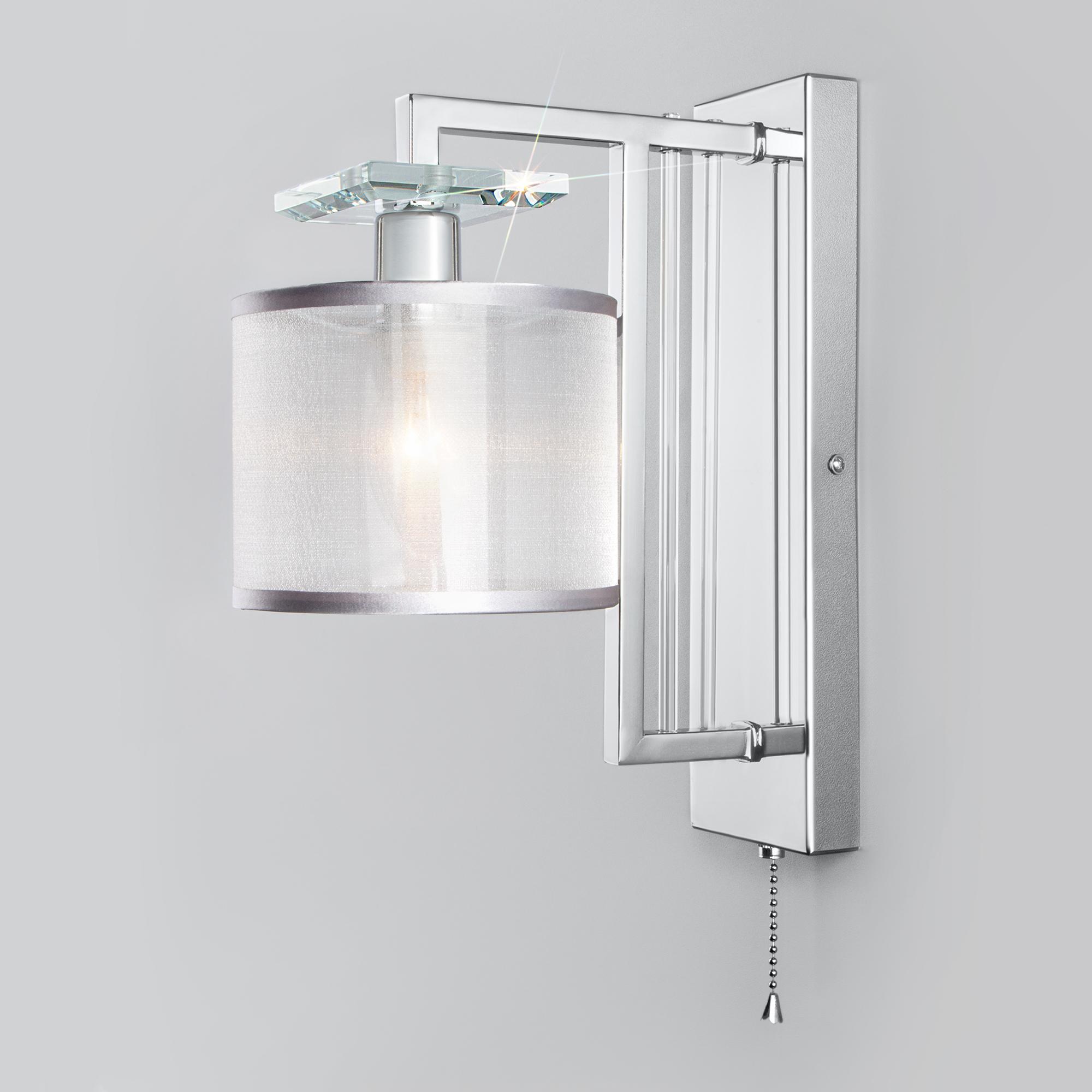 Настенный светильник с абажуром 60123/1 хром
